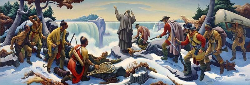 Father Hennepin at Niagara Falls in December 1678, from Thomas Hart Benton's mural at the Niagara Power Project in Lewiston.