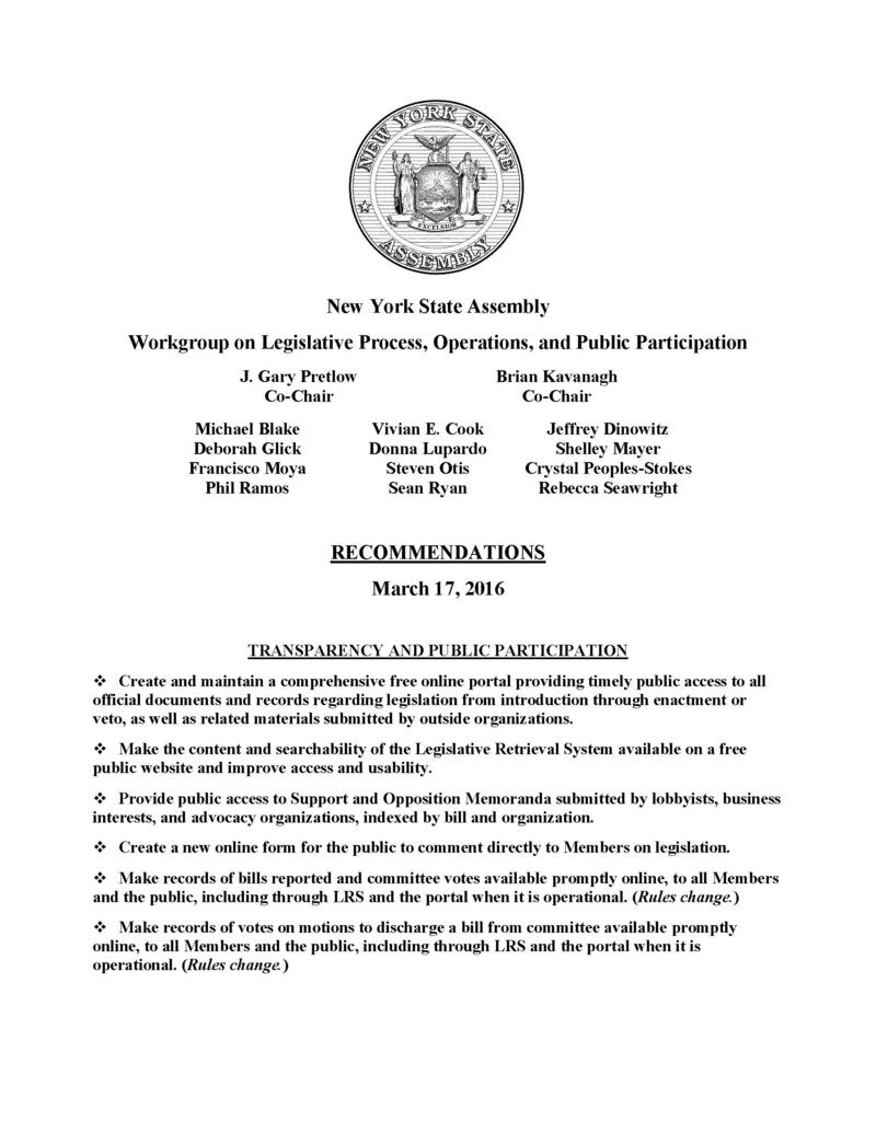 Recommendations from the NYS Assembly Workgroup on Legislative Process, Operations, and Public Participation (page 1 of 4)