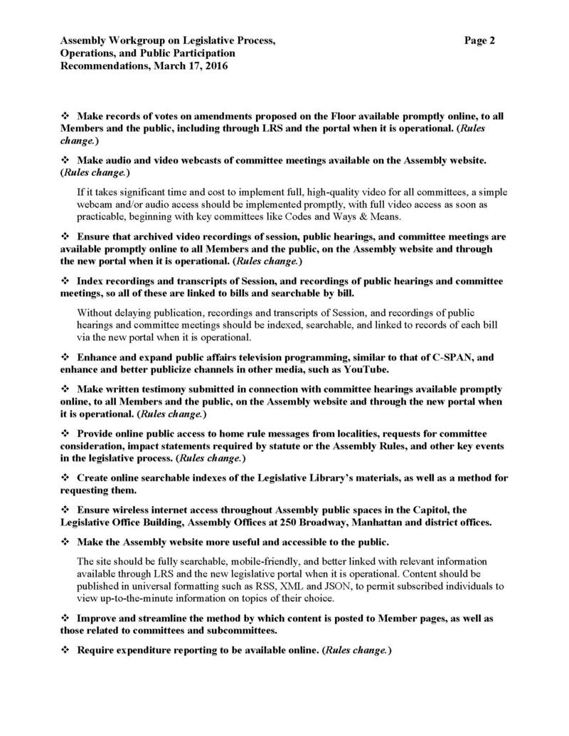 Recommendations from the NYS Assembly Workgroup on Legislative Process, Operations, and Public Participation (page 2 of 4)
