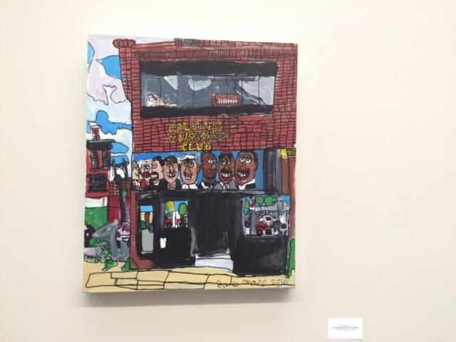 Autism Services American Music exhibit art show, paintings by students.