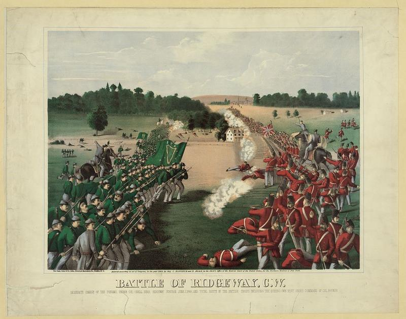 The Battle of Ridgeway in 1866, as depicted by the Buffalo lithographers Sage, Sons & Co. in a romanticized rendering made three years later.