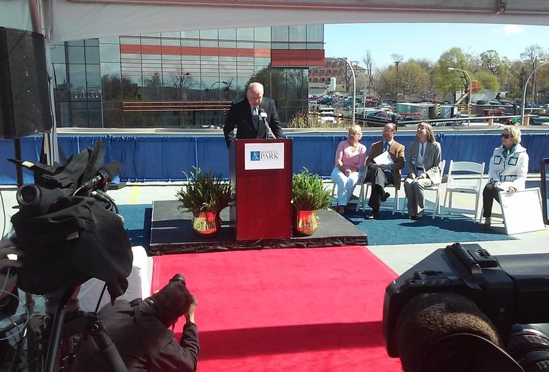 West Herr president Scott Bieler, for whom Roswell Park's new building will be named, speaks during the announcement ceremony.