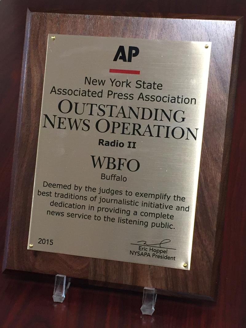 WBFO received the New York State Associated Press Association's 2015 award for Outstanding News Operation in Radio