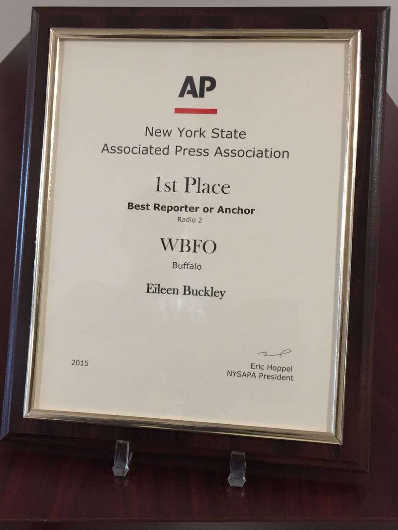 Senior Reporter Eileen Buckley received the New York State Associated Press Association's 1st place award for Best Reporter or Anchor