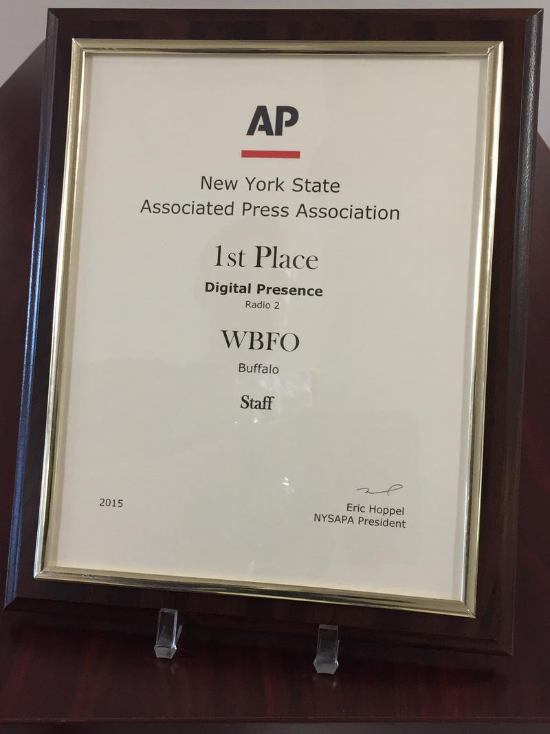 WBFO and its staff received the New York State Associated Press Association's 1st place award for Digital Presence