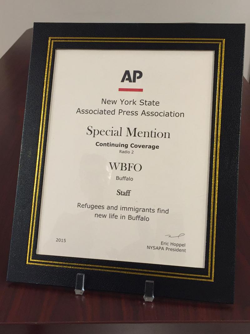 WBFO and its staff received the New York State Associated Press Association's special mention in the Continuing Coverage category