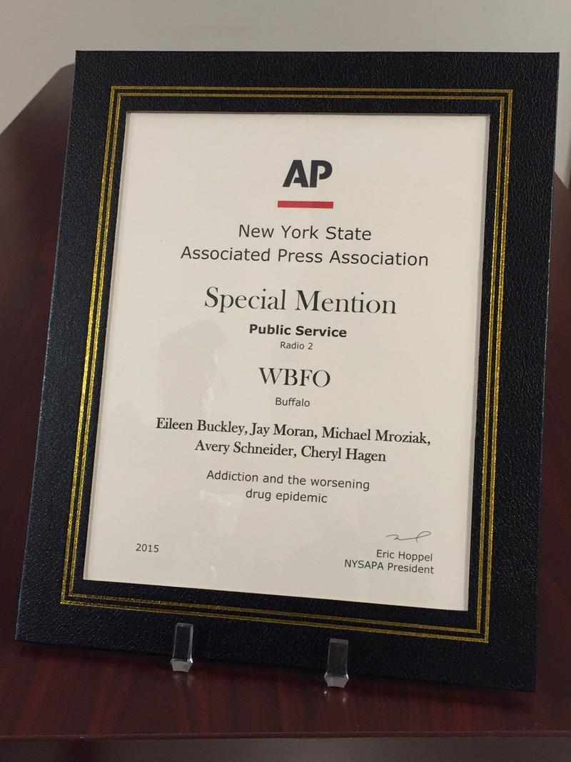 Multiple members of the WBFO staff received the New York State Associated Press Association's special mention in the Public Service category