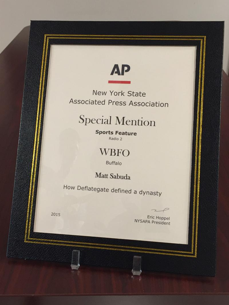 WBFO Sports Analyst Matt Sabuda received the New York State Associated Press Association's special mention in the Sports Feature category