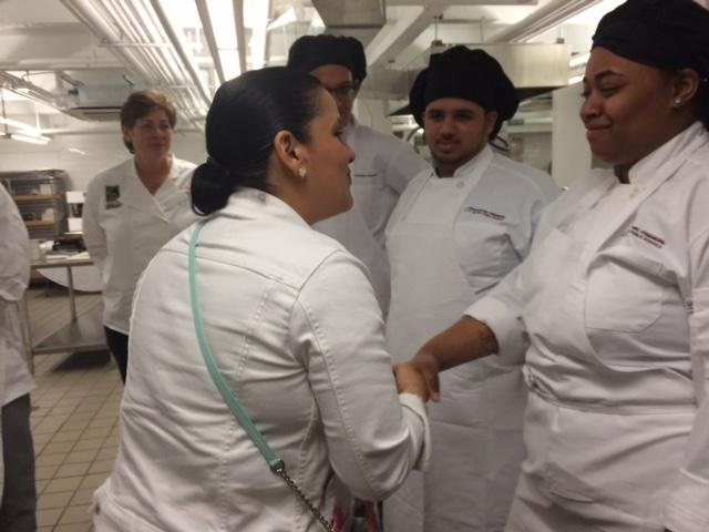 Celebrity Chef Lizette appears at the Emerson School of Hospitality to inspire students.