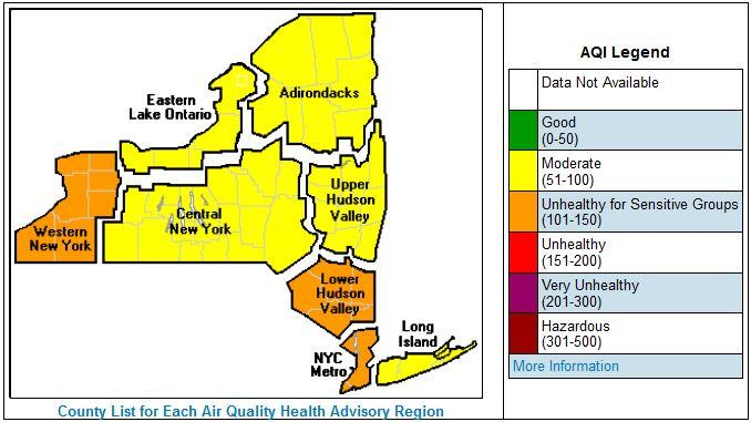 High Ozone Levels Prompt State DEC To Issue Air Quality Alert WBFO
