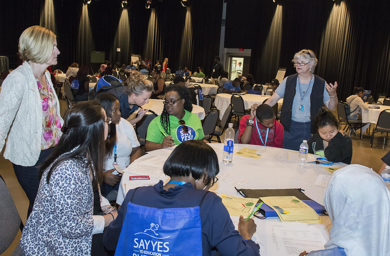 Students learn about college at Say Yes workshop.