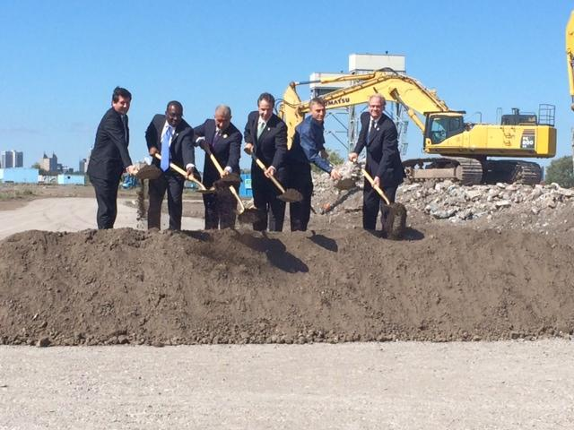 Gov. Cuomo was among the officials breaking ground on the SolarCity site in September 2014.