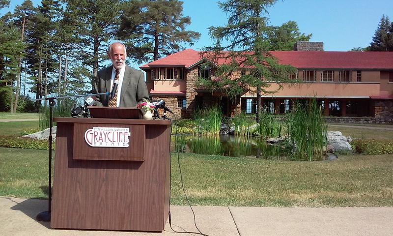 New Graycliff Conservancy executive director Robert Wooler speaks during a news conference Thursday at Graycliff Estate.