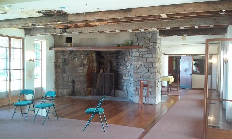 A look at the fireplace inside the Graycliff Estate's house shows just some of the restoration work needed.