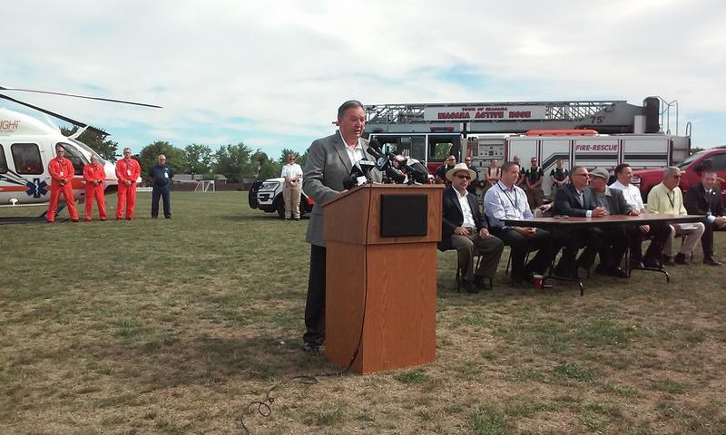 Town of Niagara Supervisor Lee Wallace speaks Monday during a news conference announcing that Mercy Flight and Mercy EMS are the town's new ambulance provider.