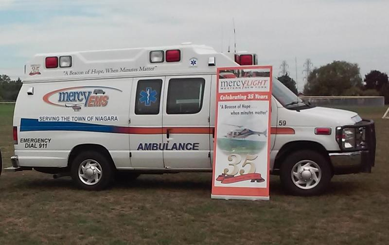 A Mercy EMS ambulance rests at Veteran's Memorial Community Park in the Town of Niagara.