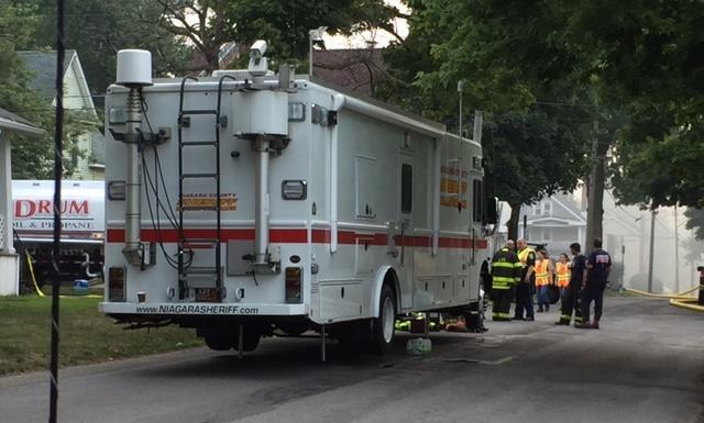 Propane truck outside fire scene Thursday morning