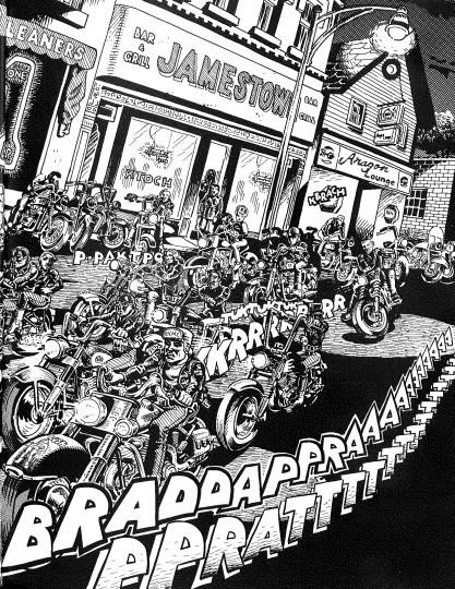 The Road Vultures, Spain Rodriguez's motorcycle gang, roar down Allen Street in 1961, a scene Spain drew from his wild, violent Buffalo youth. Today the Jamestown Bar (top center) is Nietzsche's, and across Allen stands a mural memorializing Rodriguez.