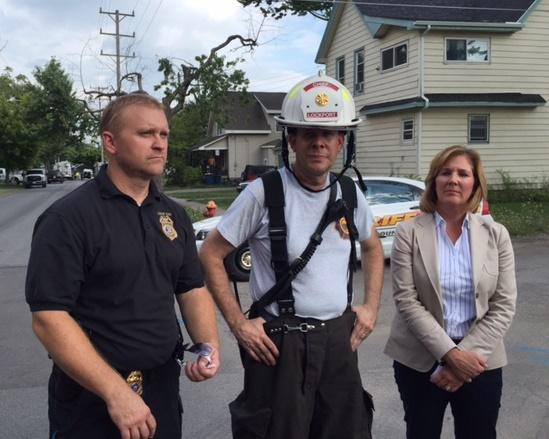 (left to right) Lockport Police Lt. Todd Chenez, Lockport Fire Chief Patrick Brady and Lockport Mayor Ann McCaffrey updating media on fire Thursday afternoon