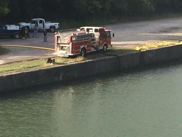 Huge quantity of water needed to fight the fire taken from nearby Erie Canal Thursday afternoon