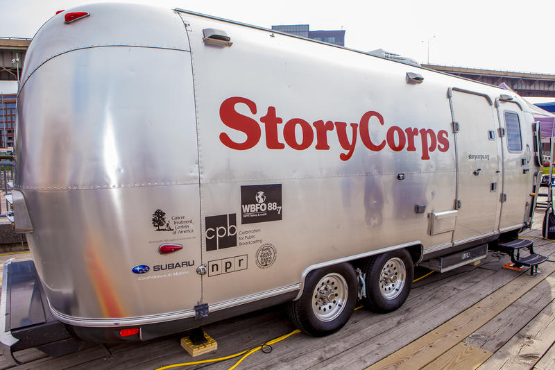 The StoryCorps Mobile Tour Booth at Canalside on Buffalo's waterfront.