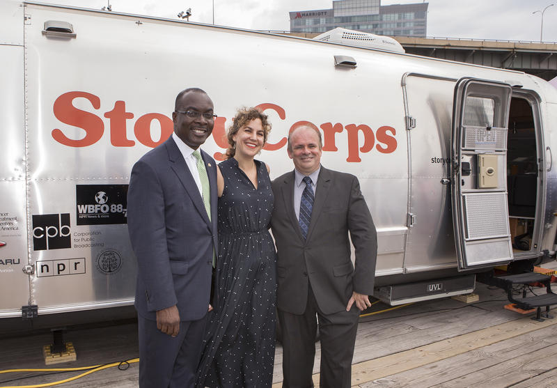 City of Buffalo Mayor Byron Brown with StoryCorps Mobile Tour Site Manager Stacey Todd and WNED|WBFO Senior Director of News and Public Affairs Brian Meyer.