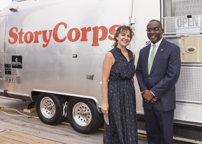 StoryCorps Mobile Tour Site Manager Stacey Todd and City of Buffalo Mayor Byron Brown.