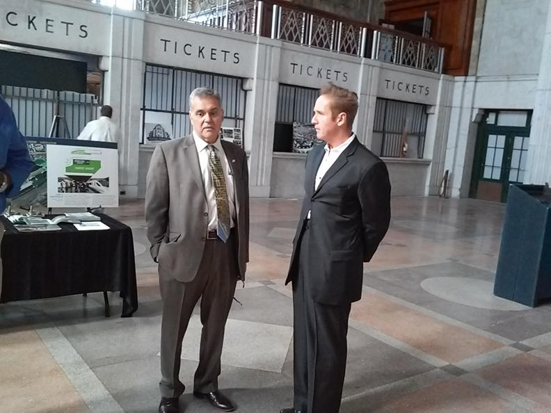 Buffalo Common Councilmember David Franczyk(at left) and Congressman Brian Higgins share a thought prior to the start of a walking tour through the Central Terminal.