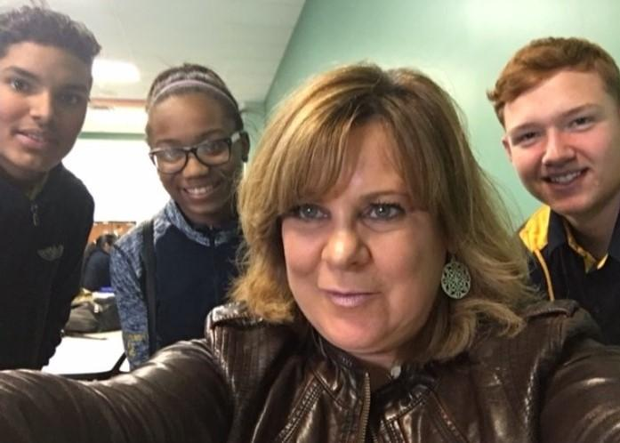 "Students at the Charter School for Applied Technologies (CSAT) in Buffalo post for a selfie as part of WBFO's ""Cafeteria Chats"" series"
