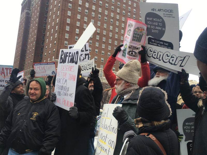 Protesters rally against Paladino in Niagara Square