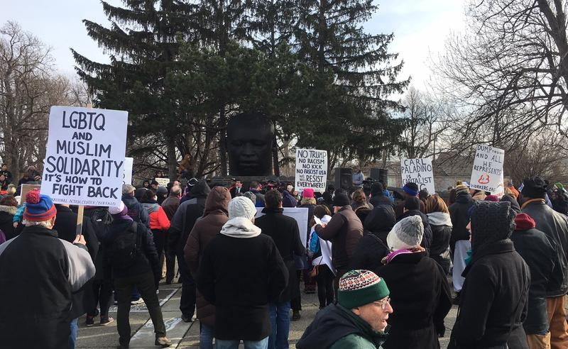 Martin Luther King Day was marked in Buffalo with a rally against Carl Paladino in MLK Park