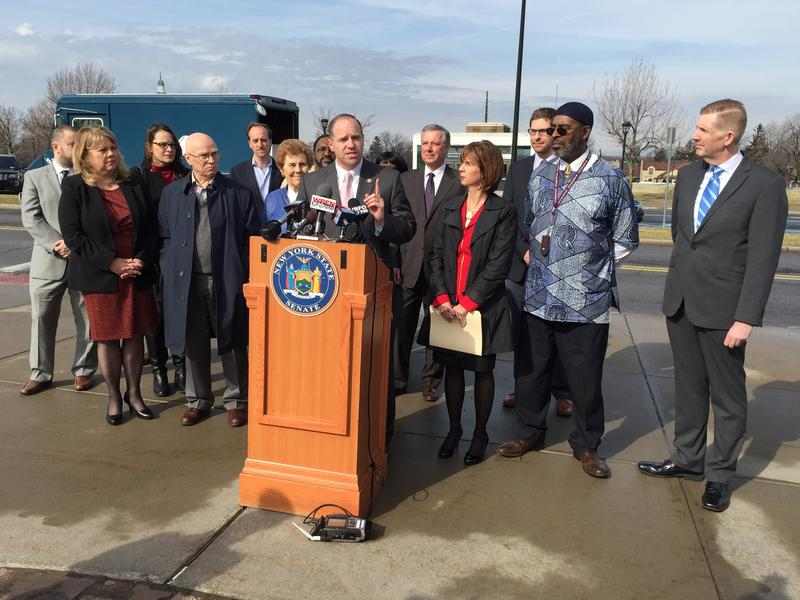 New York State Senator Tim Kennedy issues his ultimatum to the state legislature, calling on them to approve Buffalo Billion II. Kennedy is flanked by leaders from the Western New York community who joined in his call.
