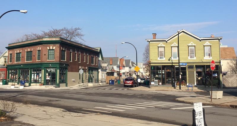 "The ""Five Points"" intersection of Rhode Island, W. Utica, Brayton St., on Buffalo's West Side"