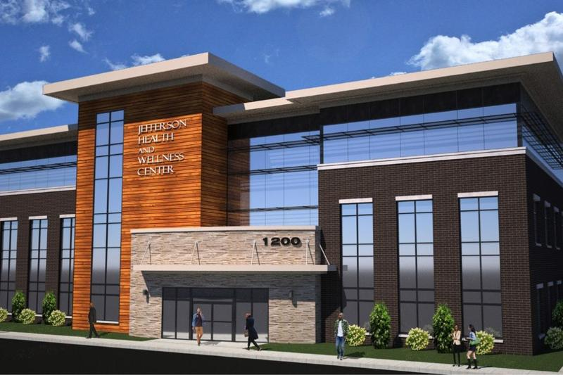 A rendering displays the plan for the health and wellness center on Jefferson Avenue