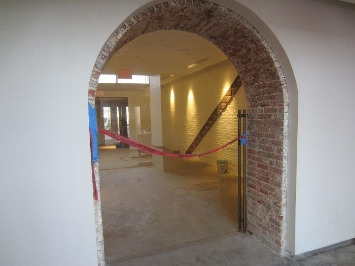 A view through an archway on the ground level of the towers building. This is where the Buffalo Architecture Center will open in December 2017.