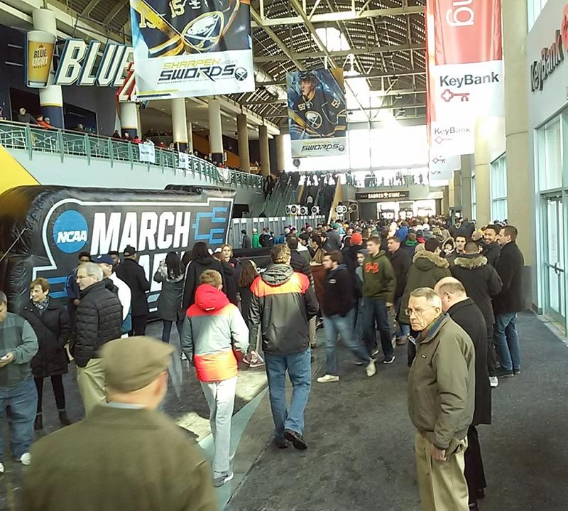 Fans arrive at KeyBank Center Thursday for the first games of the NCAA Men's Basketball Tournament.