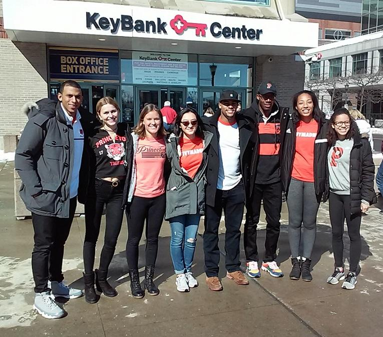 Students from Princeton arrive at KeyBank Center for their school's NCAA Men's Basketball Tournament game against Notre Dame. Unfortunately for these Tigers fans, Princeton fell in the first round to the Fighting Irish, 60-58.
