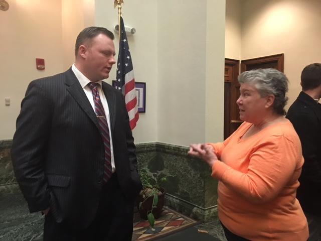 Erie County Lawmaker Patrick Burke discuss ban with Kitty Lambert.