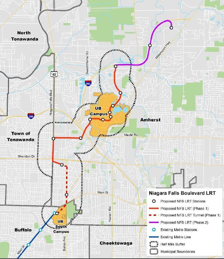 NFTA recommended route along Niagara Falls Boulevard to I-990.