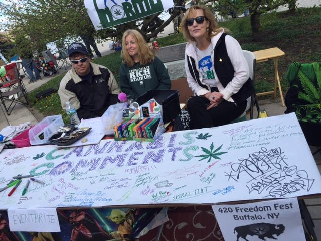 Freedom Fest organizers collect signatures in support of medical marijuana.