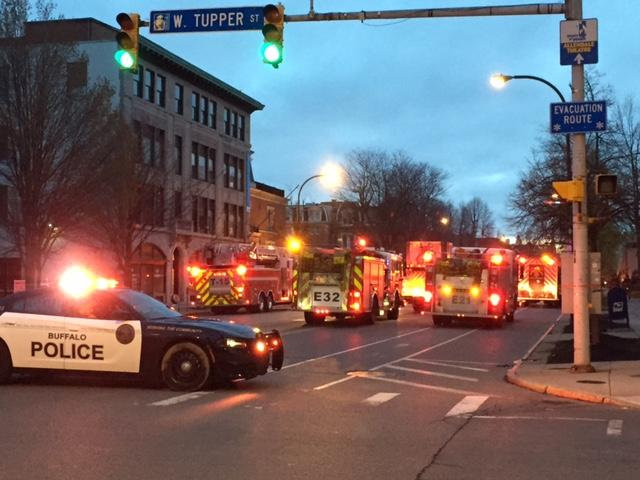 Delaware Avenue between Edward and Tupper was closed for a couple of hours during the morning commute.