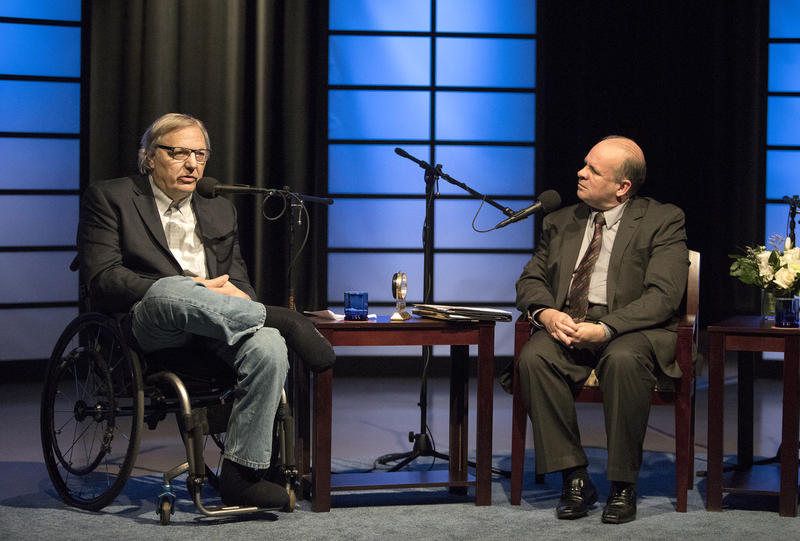 John Hockenberry (left) discussed several issues with WBFO News Director Brian Meyer.