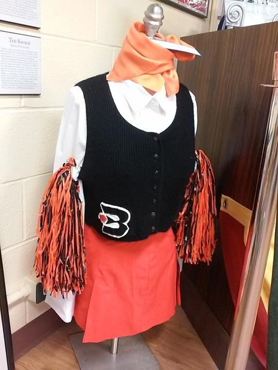 A cheerleader's outfit from the Buffalo Braves NBA franchise. The Braves played in Buffalo for eight seasons before moving west to first become the San Diego Clippers and then later the Los Angeles Clippers.