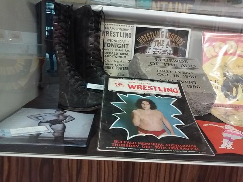 The Aud hosted numerous pro wrestling events over its 56-year history. Among the items encased are the boots of the late Ilio DiPaolo.