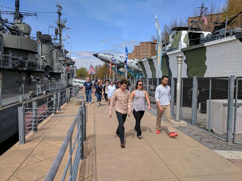 Interns from the Wellness Institute of Greater Buffalo helped guide walkers through the Canalside area at lunch during National Walk at Lunch Day.
