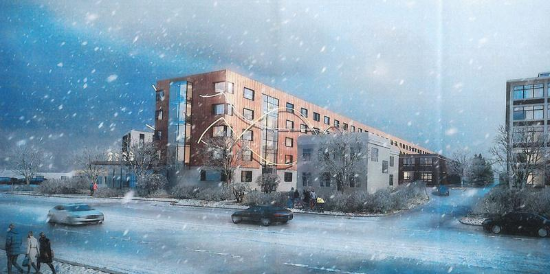 Rendering of the proposed plan for 2929 Main Street in winter.