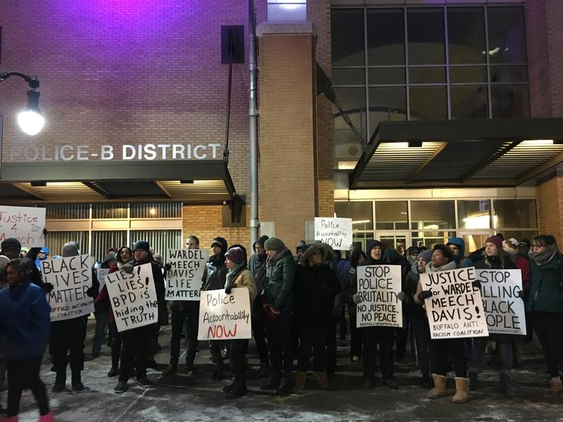 "Demonstrators outside a Buffalo Police district station protested the February death of Wardel ""Meech"" Davis"