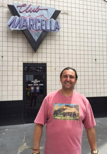 Owner Joe Guagliardo outside the club's iconic logo. All photos were taken Wednesday afternoon, while renovations were still in full swing..