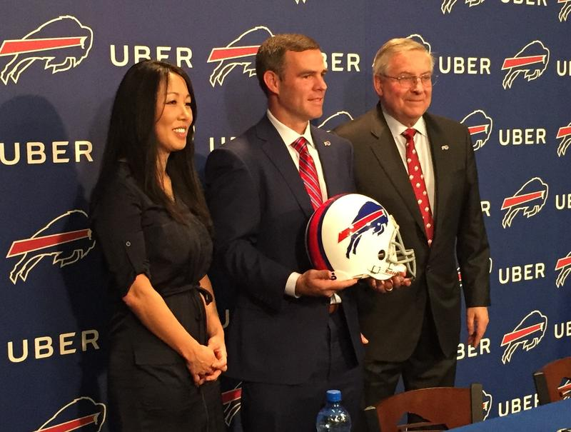 (From left) Kim Pegula, Brandon Beane, Terry Pegula