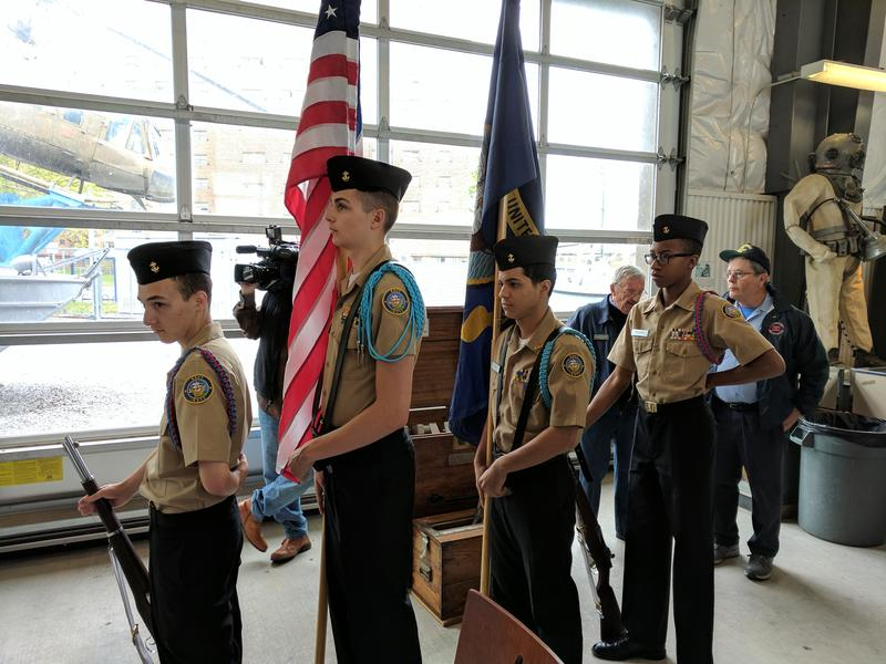 Navy Junior R.O.T.C. Cadets provided a ceremonial color guard during the singing of the national anthem at the unveiling of the LCDR Ralph C. Wilson, Jr. display at the naval park